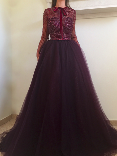 Long Sleeve Prom Dresses A-line Sparkly Beading Tulle Long Sexy Prom Dress JKL1211|Annapromdress