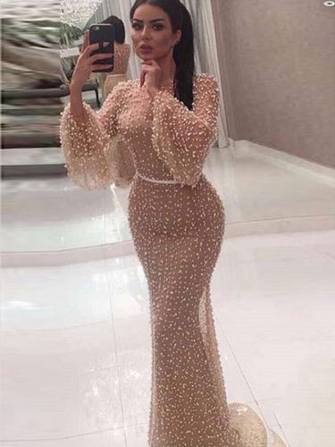 Long Sleeve Prom Dresses Mermaid Beading Prom Dress Long Sexy Evening Dress JKL1212|Annapromdress