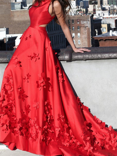 Red Prom Dresses A-line Sweep Train Hand-Made Flower Long Chic Prom Dress JKL1213|Annapromdress