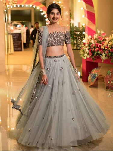 Two Piece Prom Dresses Scoop Floor-length A-line Tulle Sparkly Long Prom Dress JKL1214|Annapromdress
