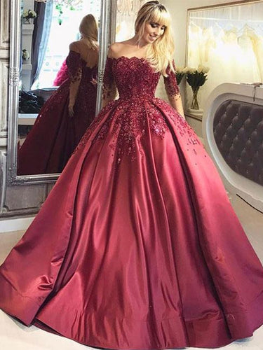 Long Sleeve Prom Dresses Ball Gown Beading Sparkly Prom Dress Long Evening Dress JKL1219|Annapromdress