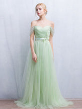 Sage Prom Dress Off-the-shoulder Floor-length Chic Prom Dress/Evening Dress JKL121