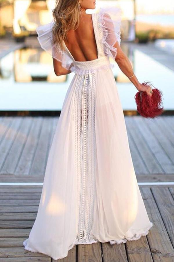 b543a93527 ... Backless Prom Dresses Deep V-neck A-line Simple Long Chiffon Lace Cheap  Prom ...