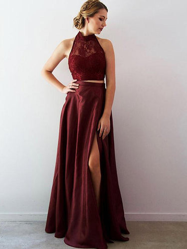 Two Piece Prom Dresses Halter Aline Lace Burgundy Taffeta Long Slit Prom Dress JKL1224|Annapromdress