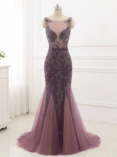 Beading Prom Dresses Scoop Mermaid Short Train Tulle Sparkly Long Chic Prom Dress JKL1228|Annapromdress
