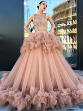 Ball Gown Prom Dresses Scoop Ruffles Long Beautiful Sparkly Lace Prom Dress JKL1230|Annapromdress