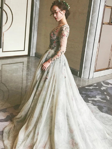 Fairy Long Sleeve Prom Dresses V-neck A-line Embroidery Prom Dress Long Evening Dress JKL1233|Annapromdress