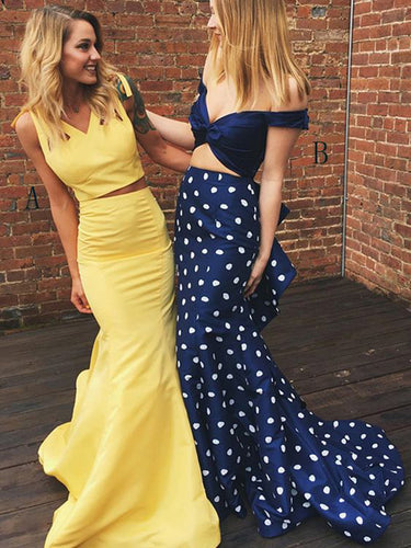 Two Piece Prom Dresses Mermaid V-neck Short Train Print Chic Long Yellow Prom Dress JKL1234|Annapromdress