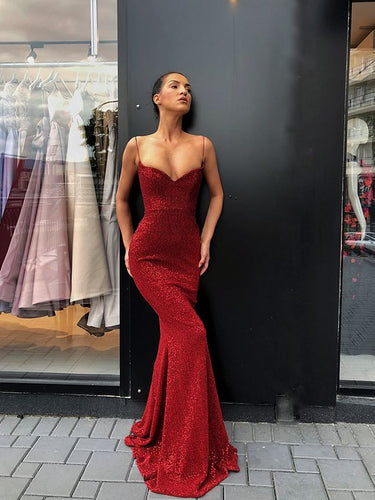 Burgundy Prom Dresses Spaghetti Straps Sheath Long Sparkly Sexy Prom Dress JKL1235|Annapromdress