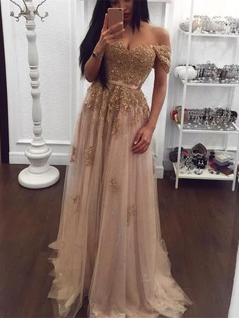 Sparkly Prom Dresses A-line Off-the-shoulder Floor-length Chic Long Prom Dress JKL1238|Annapromdress