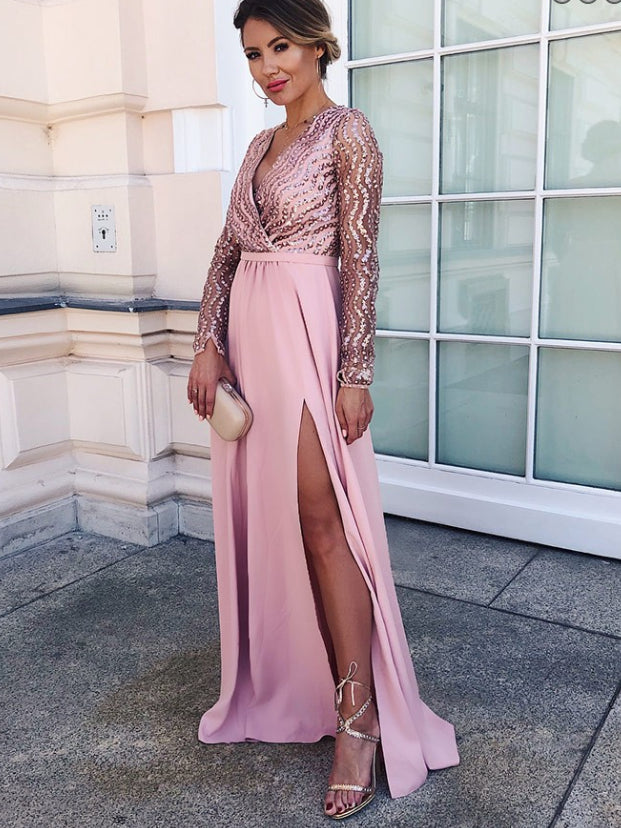Long Sleeve Prom Dresses With Slit A Line V Neck Floor Length Chic