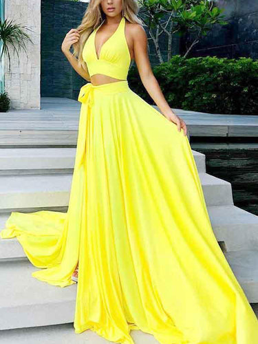 Two Piece Prom Dresses A Line Yellow Simple Cheap Long Prom Dress Sexy Evening Dress JKL1247|Annapromdress