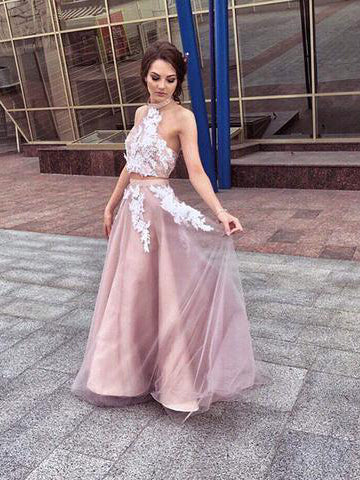 Two Piece Prom Dresses Halter A-line Appliques Long Tulle Chic Open Back Prom Dress JKL1249|Annapromdress