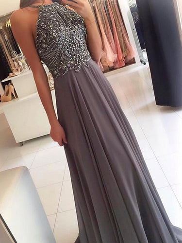 Sexy Long Prom Dresses Halter Floor-length Sequins Prom Dress/Evening Dress JKL124|Annapromdress