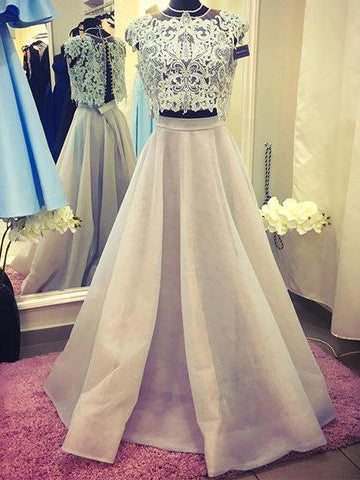 Two Piece Dresses A-line Floor-length Halter Organza Long Lace Chic Prom Dress JKL1250|Annapromdress