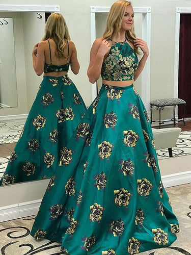 Two Piece Prom Dresses A Line Floral Print Long Prom Dress Sexy Evening Dress JKL1254|Annapromdress
