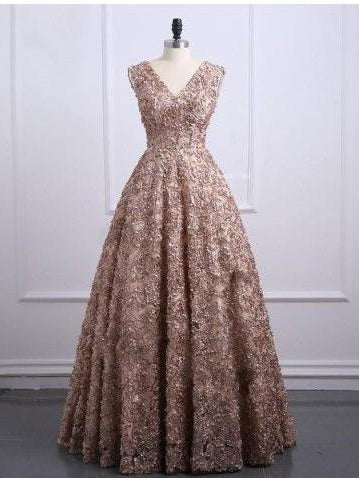Lace Prom Dresses V-neck A-line Short Train Gold Sparkly Long Prom Dress JKL1255|Annapromdress