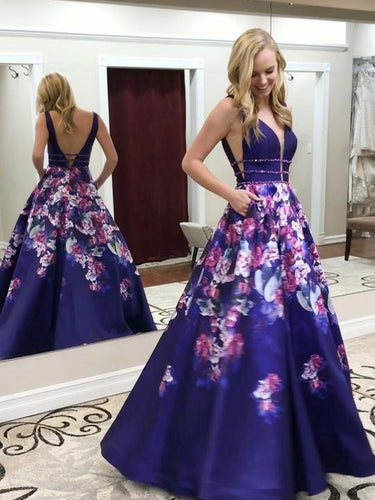 Open Back Prom Dresses A-line Floor-length Floral Print Long Chic Prom Dress JKL1257|Annapromdress