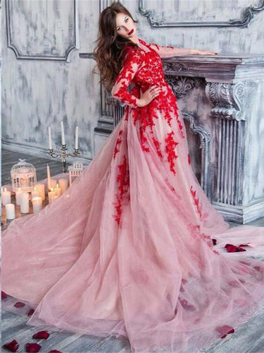 Long Sleeve Prom Dresses Scoop Aline Tulle Open Back Prom Dress Long Evening Dress JKL1258|Annapromdress
