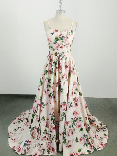 Floral Print Prom Dresses A-line Spaghetti Straps Sweep Train Chic Long Prom Dress JKL1259|Annapromdress