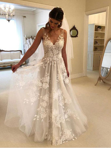 Open Back Prom Dresses A Line Appliques Long Prom Dress Sexy Evening Dress JKL1261|Annapromdress