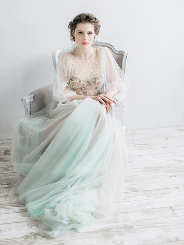 Long Sleeve Prom Dresses A-line Sweep Train Long Chic Lace Fariy Prom Dress JKL1264|Annapromdress
