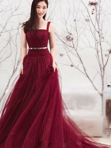 Long Prom Dresses Straps Aline Sexy Sweep Train Burgundy Lace Prom Dress JKL1274|Annapromdress