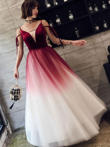 Ombre Prom Dresses A Line Spaghetti Straps Long Prom Dress Simple Evening Dress JKL1275|Annapromdress