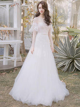 Long Sleeve Prom Dresses A-line Scoop Floor-length Lace Long Fairy Prom Dress JKL1276|Annapromdress