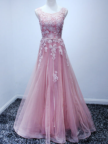 Beautiful Prom Dresses Scoop Appliques Floor-length Prom Dress/Evening Dress JKL127
