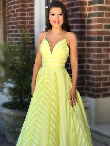 Beautiful Prom Dresses Aline Spaghetti Straps Chic Long Simple Yellow Prom Dress JKL1280|Annapromdress