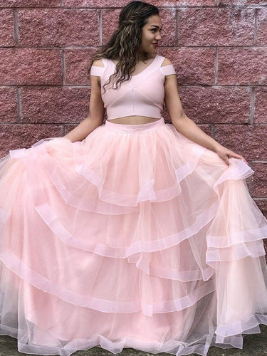 Two Piece Prom Dresses V-neck Aline Sexy Pearl Pink Simple Long Cheap Prom Dress JKL1281|Annapromdress