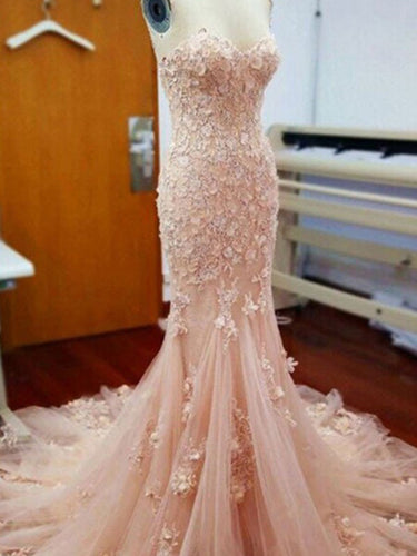 Lace Prom Dresses Sweetheart Sweep Train Blush Pink Long Mermaid Prom Dress JKL1284|Annapromdress