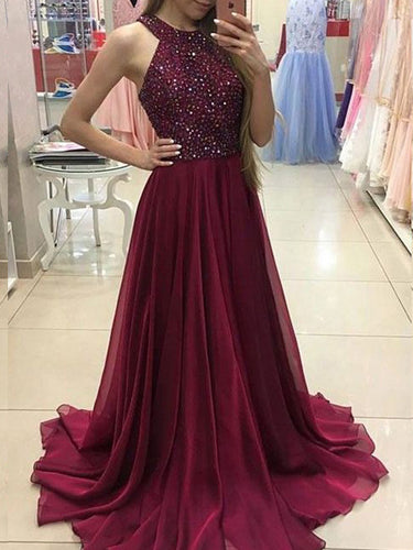 Sexy Prom Dresses Rhinestone Halter Burgundy Long Prom Dress/Evening Dress JKL128