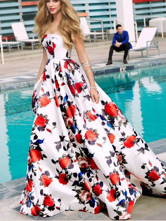 a2e739053b0 Floral Print Prom Dresses Strapless Aline Sweep Train Long White Prom Dress  JKL1291
