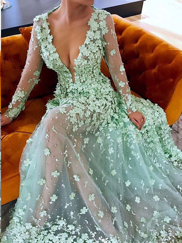 Beautiful Prom Dresses A-line Floral Lace Sage See Through Long Chic Prom Dress JKL1292|Annapromdress