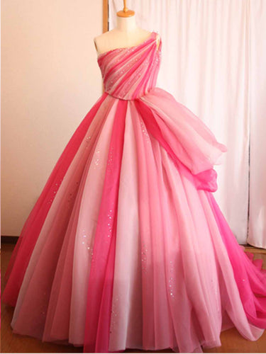 One Shoulder Prom Dresses Ball Gown Sweep Train Pink Chic Long Prom Dress JKL1294|Annapromdress