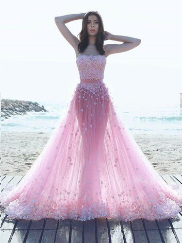 Beautiful Prom Dresses A-line Hand-Made Flower Pink Tulle Long Chic Prom Dress JKL1299|Annapromdress