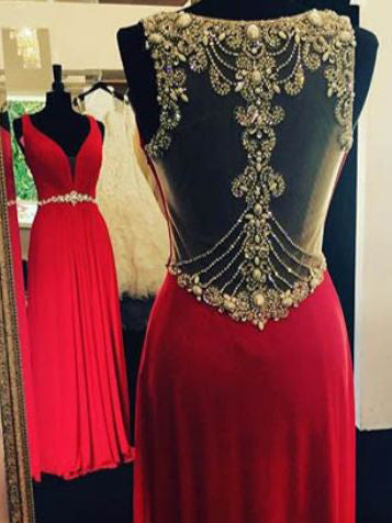 Red Prom Dresses V-neck Rhinestone Floor-length Sexy Prom Dress/Evening Dress JKL129