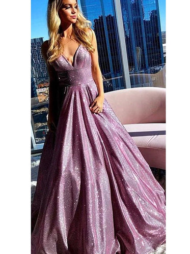 Unique Long Sleeve Prom Dresses One Shoulder A-line Sparkly Prom Dress Long Evening Dress JKL1300|Annapromdress