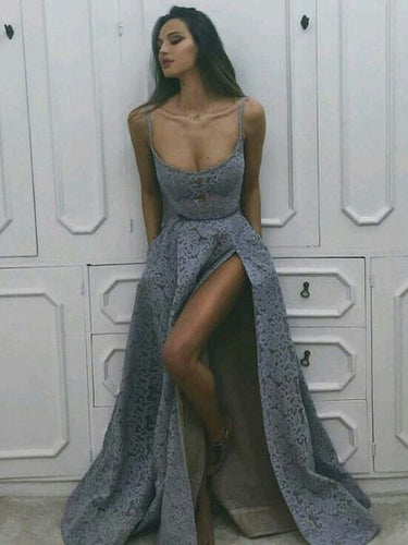 Lace Prom Dresses with Slit Spaghetti Straps Aline Sexy Long Prom Dress JKL1308|Annapromdress