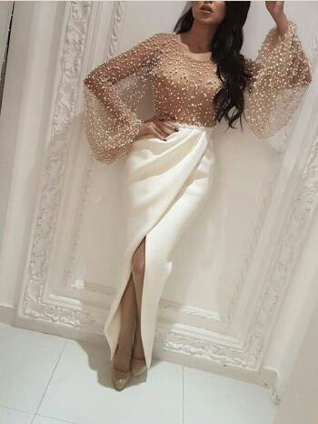 Long Sleeve Prom Dresses with Slit Scoop Sheath Beading Prom Dress Sexy Evening Dress JKL1318|Annapromdress