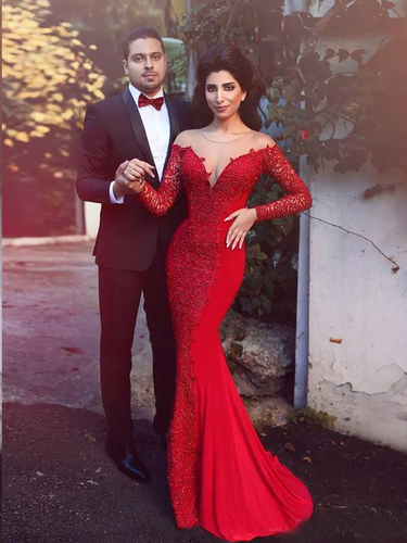 Long Sleeve Prom Dresses Trumpet Mermaid Short Train Long Lace Red Prom Dress JKL1319|Annapromdress