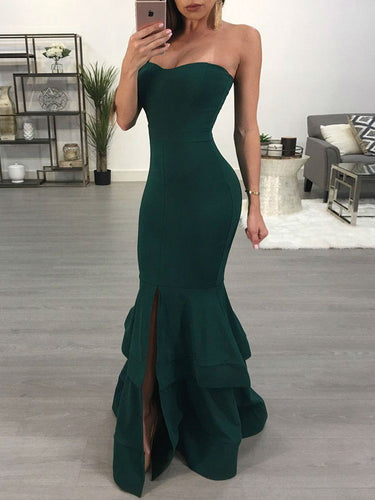 Dark Green Prom Dresses with Slit Long Mermaid Prom Dress Sexy Evening Dress JKL1321|Annapromdress
