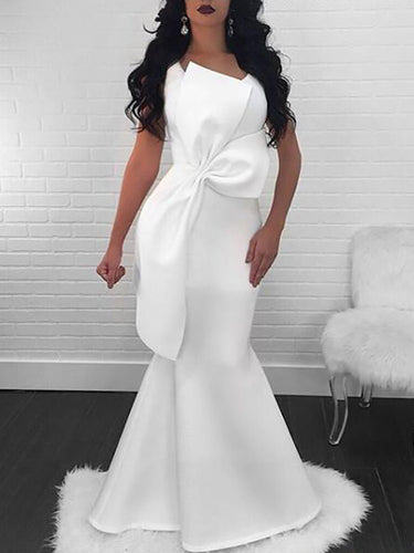 Mermaid Prom Dresses Scoop Floor-length Chic Long Simple White Cheap Prom Dress JKL1322|Annapromdress