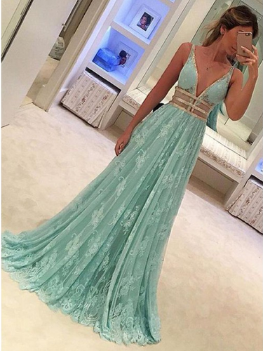 Lace Prom Dresses with Straps A-line Deeep V Long Prom Dress Sexy Evening Dress JKL1328|Annapromdress