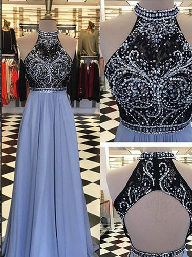 Open Back Prom Dresses High Neck Aline Black Lace Rhinestone Lavender Sparkly Prom Dress JKL1333|Annapromdress