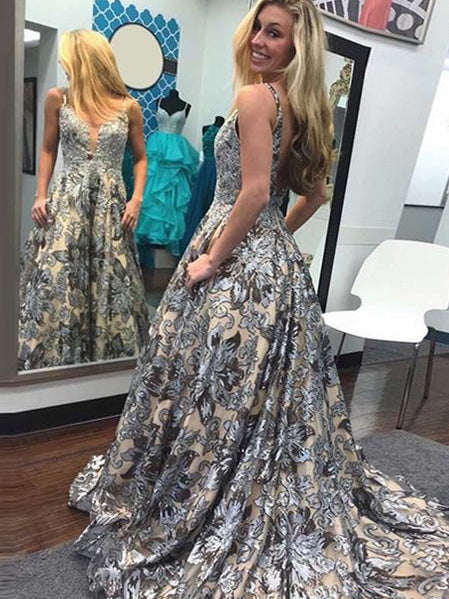 Beautiful Prom Dresses with Straps A Line Sweep Train Long Lace Chic Prom Dress JKL1337|Annapromdress