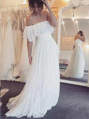 Lace Prom Dresses A-line Off-the-shoulder One Shoulder Polka Dot Long Prom Dress JKL1339|Annapromdress