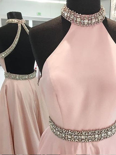 Sexy Prom Dresses A-line High Neck Rhinestone Long Prom Dress/Evening Dress JKL133